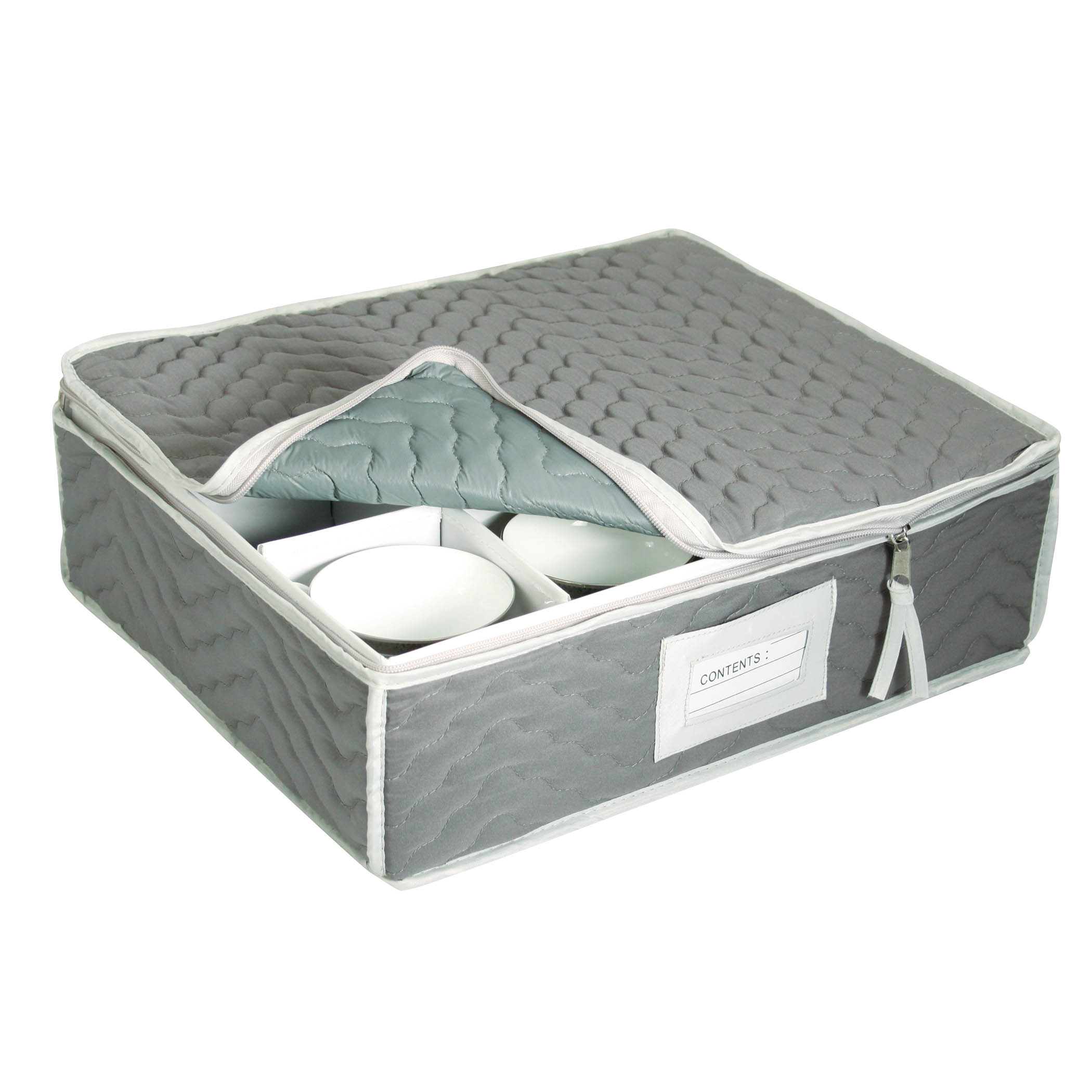 China Cup Storage Chest - Deluxe Quilted Microfiber (13H x 15.5W x 5D) (Grey, 2 PACK)