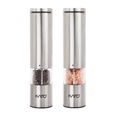 Kato Electric Salt and Pepper Grinder Set with LED Light, Battery Powered, Adjustable Ceramic Coarseness, Stainless Steel Pepper Mill, Pack of