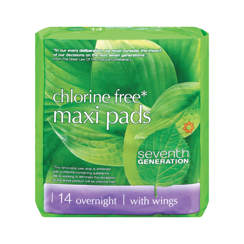 Seventh Generation Chorine Free Maxi Pads - Overnight with Wings - 14 Pads