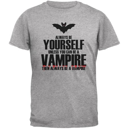 Halloween Always Be Yourself Vampire Heather Grey Youth T-Shirt - Vampire Halloween Sayings