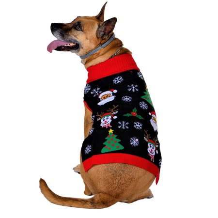 SoCal Look Dogs Christmas Sweaters Rudolph The Red Nose Black