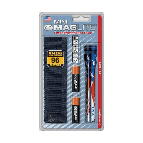 Maglite M2AAEH Flag Mini 14-Lumen 2-Cell AA Incandescent Flashlight Holster Pack