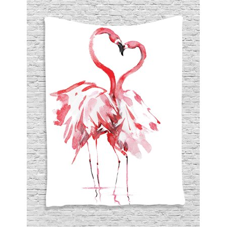 Flamingo Decor Wall Hanging Tapestry, Flamingo Couple Kissing Romance Passion Partners In Love Watercolor Effect Art Work, Bedroom Living Room Dorm Accessories, By Ambesonne