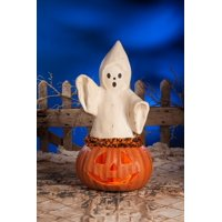 "22.5"" Orange and White Ghost Coming Out of Pumpkin Halloween Figurine"