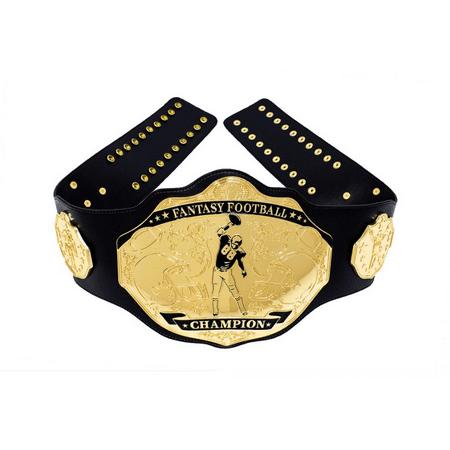 Fantasy Football Champion Belt Spike Black Gold Championship 1st Place Trophy