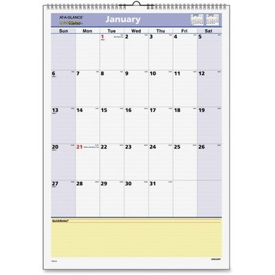 AT-A-GLANCE QuickNotes Recycled Wall Calendar, Med Wall, Blue/Yellow, 2013 (PM52-28)