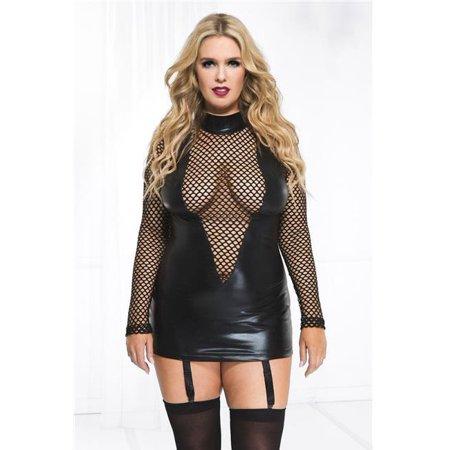 Music Legs 20025Q-3X-4X Plus Size Wet Look & Fishnet Long Sleeve Garter Mini Dress, 3X & 4X