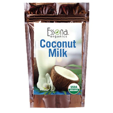USDA Organic Certified Organic Coconut Milk Powder 100 % Pure Concentrated Powder, Raw, Vegan - From Essona Organics - Now 33 % Larger Size - 240 grams in a convenient, resealable pouch.