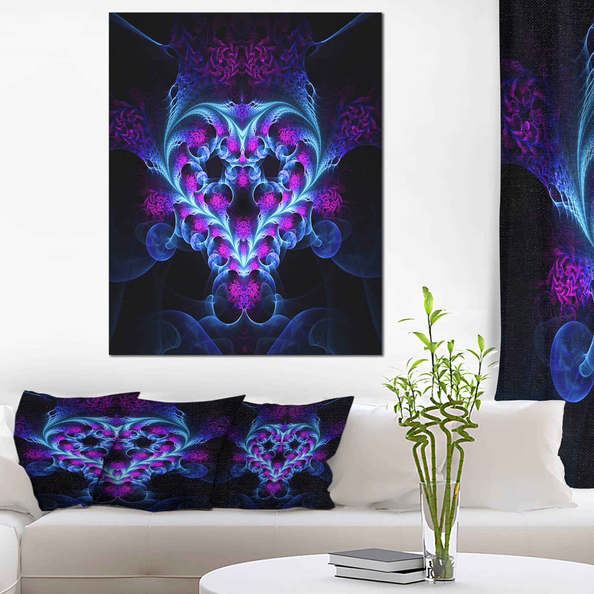 Bright Blue Large Fractal Flower Design - Abstract Art on Canvas - image 3 of 3