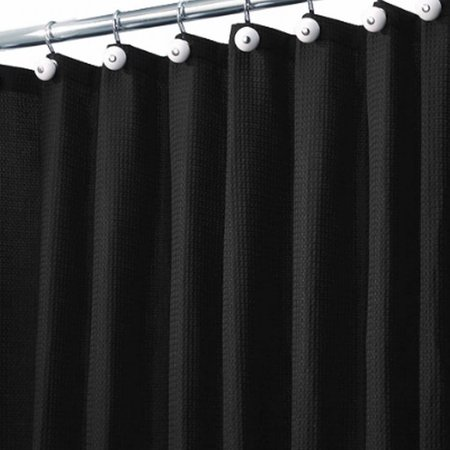 home black waffle weave fabric shower curtain cotton bath. Black Bedroom Furniture Sets. Home Design Ideas