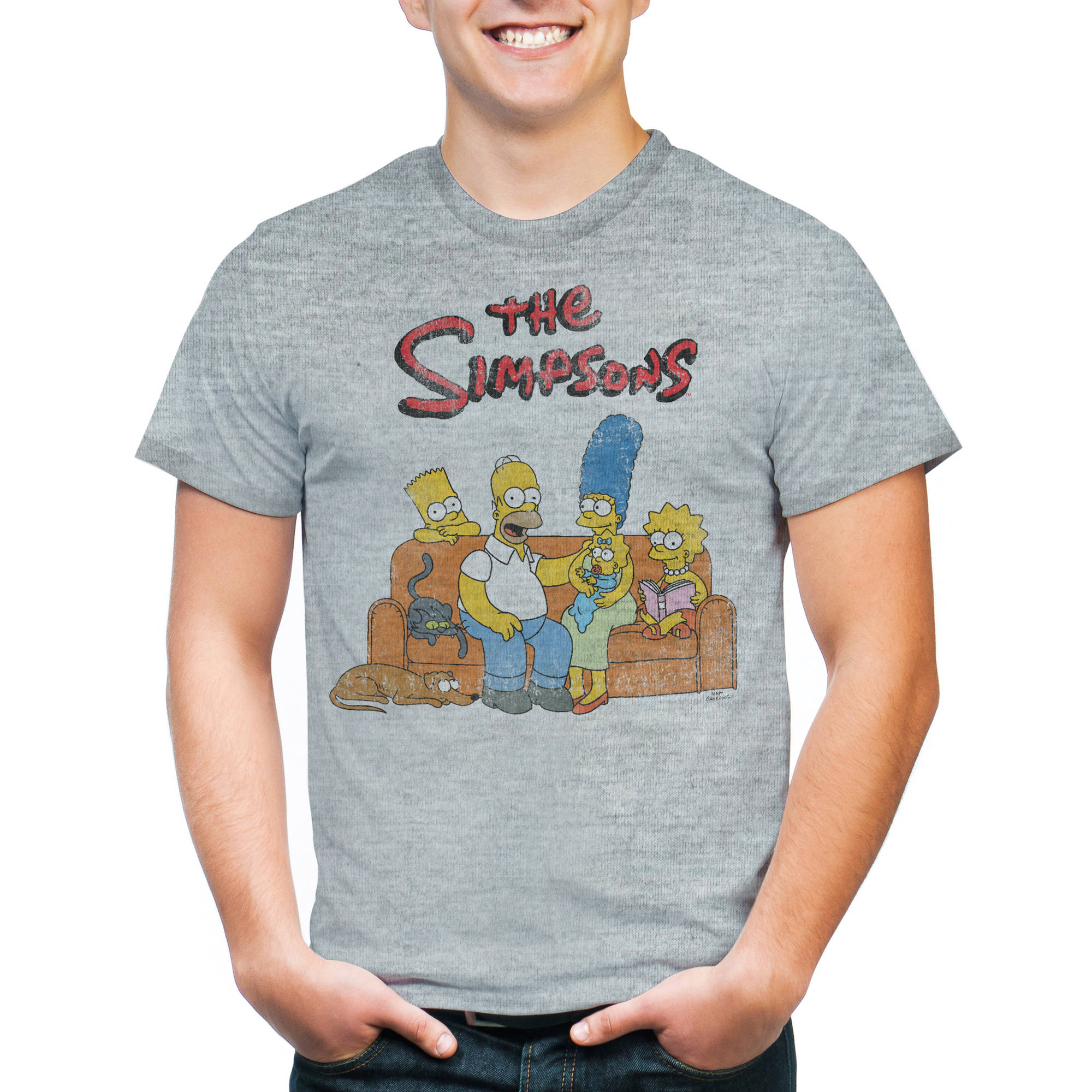 Simpsons Men's Bart Group Shot Graphic Short Sleeve T-shirt