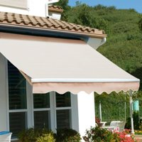 12' x 10' Patio Retractable Awning Sun Shade Awning Weather Resistant UV Adjustable Shade, Beige