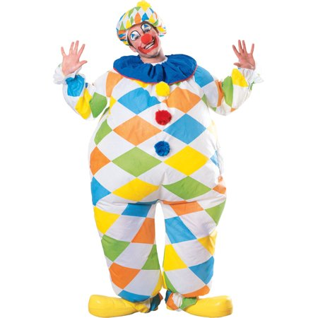 Adult Full Body Inflatable Colorful Clown Jumpsuit Costume - Full Body Catsuits
