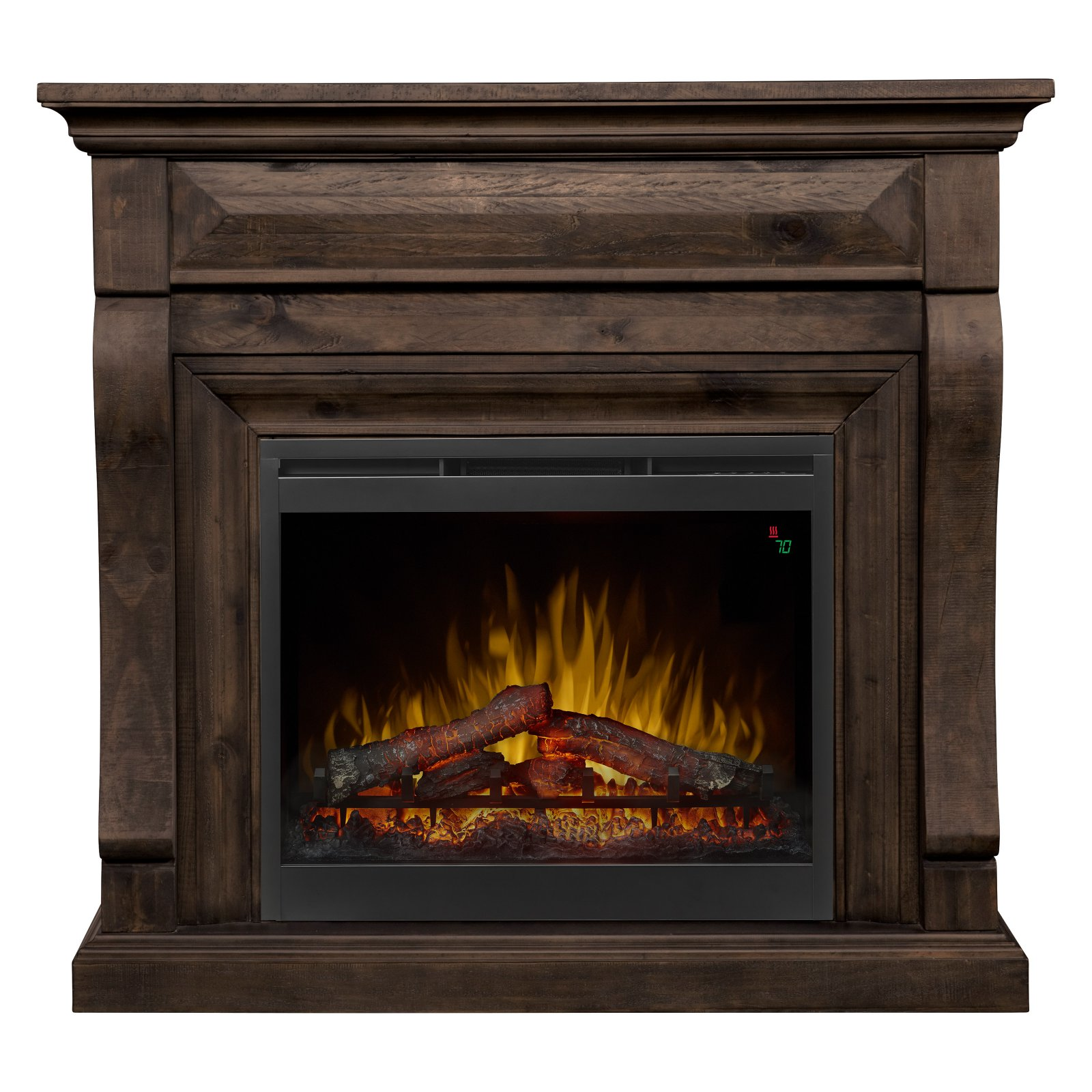 Dimplex Samuel Mantel Electric Fireplace With Logs, Weathered Grey