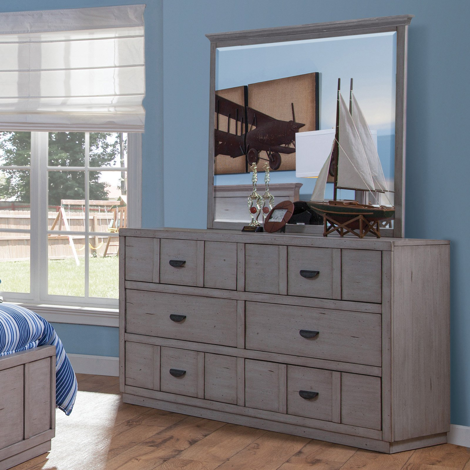 American Woodcrafters Provo 6 Drawer Double Dresser with Optional Mirror - Driftwood