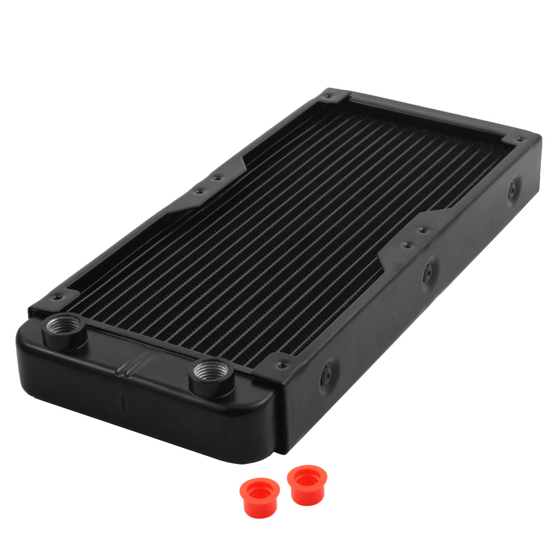 Computer CPU Aluminum 18 Pipes Water Cooling Heat Exchanger Radiator Black