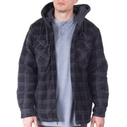 Mens Flannel Big And Tall Jackets For Men Zip Up Hoodie Sherpa Lined Jacket Shirt - M - Black