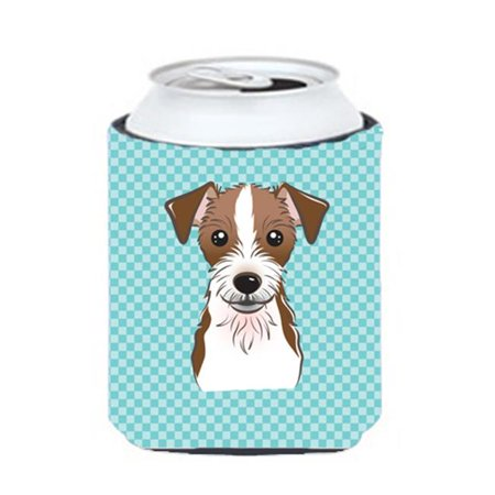Checkerboard Blue Jack Russell Terrier Can Or Bottle Hugger, 12 Oz. - image 1 of 1