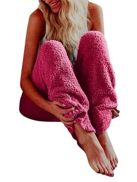Ladies Plush Fuzzy Fleece Long Pajamas Lounge Soft Loose Fleece Pajamas Pants Sleepwear Fluffy Pants Women