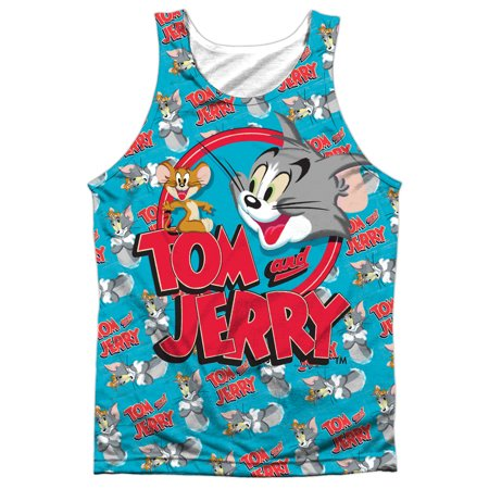 Tom And Jerry Double Trouble  Front Back Print  Mens Sublimation Polyester Tank Top Shirt