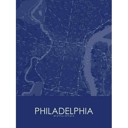philadelphia united states of america blue map poster