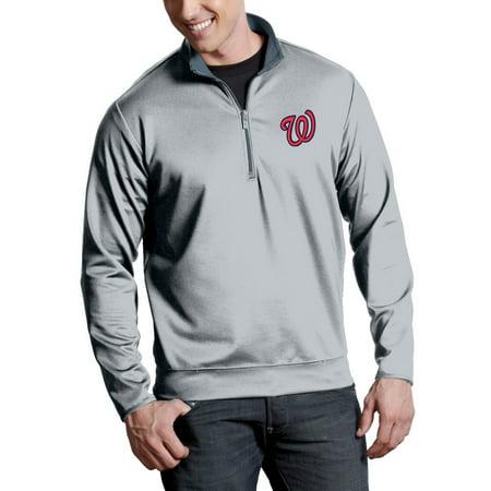 Washington Nationals Antigua Leader Quarter-Zip Pullover Jacket - Silver