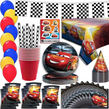 Party Supplies Okc (Disney Cars Party Supplies, Serves 16 - Plates, Napkins, Tablecloth, Cups, Straws, Balloons, Loot Bags, Stickers, Birthday Hats, Flag Banner - Full Tableware, Decorations, Favors)