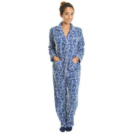 36a6c27674 Angelina Womens Fleece Loungewear Sleepwear Pajama Set (Blue White ...