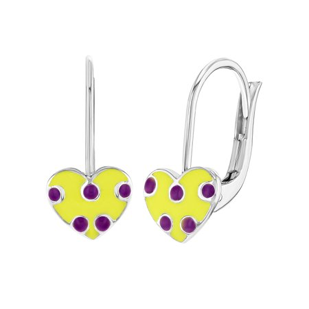 Yellow Enamel Earrings (925 Sterling Silver Yellow Purple Enamel Heart Dangle Earrings Leverback)
