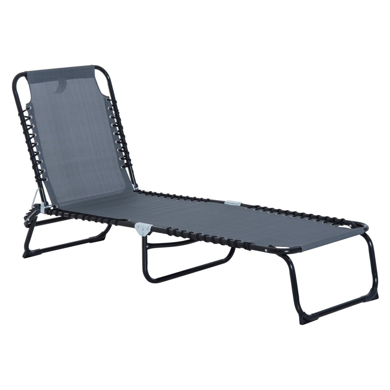 Outsunny Portable 3 Position Reclining Folding Beach Chaise Lounge Chair