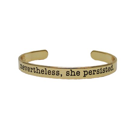 Gold Stackable Bangle - Nevertheless She Persisted Gold Plated Cuff Bangle Bracelet Inspirational Stackable Jewelry