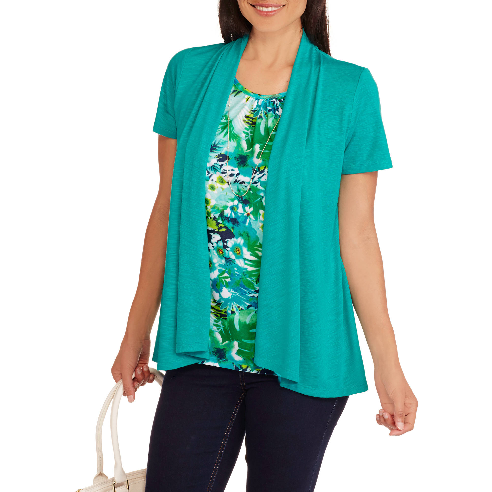 White Stag Women's Short Sleeve 2fer Flyaway Top