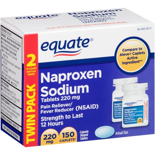 Equate All Day Pain Relief, Naproxen Sodium 220 mg Tablets, 150 Ct, 2 Ct