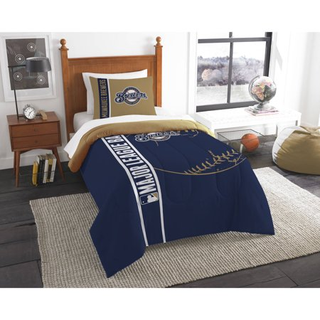 MLB Milwaukee Brewers Printed Twin Comforter and Sham Set by