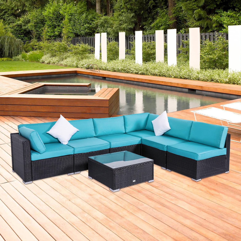 Kinbor 7pcs Outdoor Patio Furniture Sectional Pe Wicker Rattan Sofa Set    Walmart.com