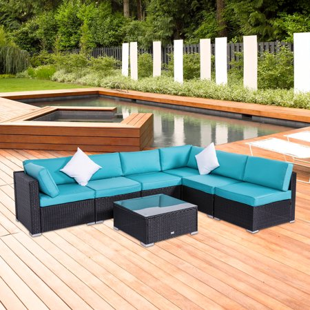 Kinbor 7pcs Outdoor Patio Furniture Sectional Pe Wicker Rattan Sofa