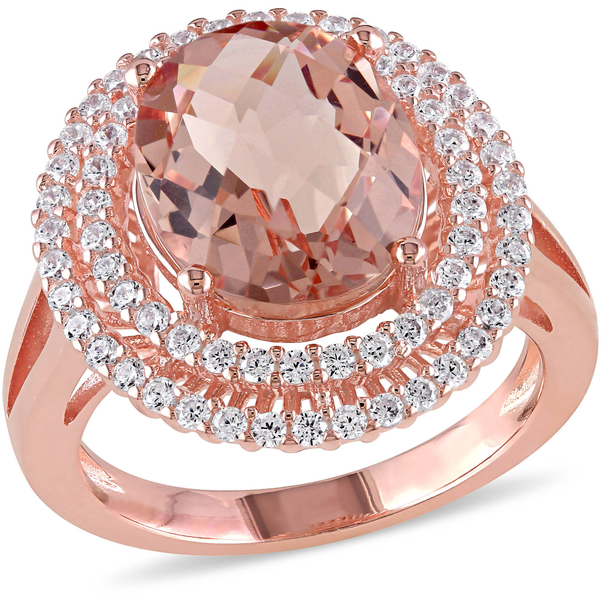 7-3/8 Carat T.G.W. Simulated Morganite and Cubic Zirconia Rose Rhodium-Plated Sterling Silver Double Halo Cocktail Ring