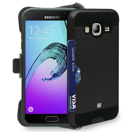 Black Credit Card Slot Case   Belt Clip Holster For Samsung Galaxy Express Prime