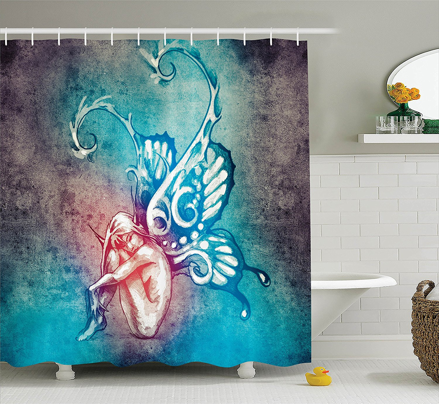 Butterflies Decorations Shower Curtain Set by , Fairy wit...