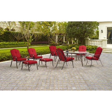 Mainstays Woodacre 10 Piece Patio Dining And Leisure Set Red Seats 6