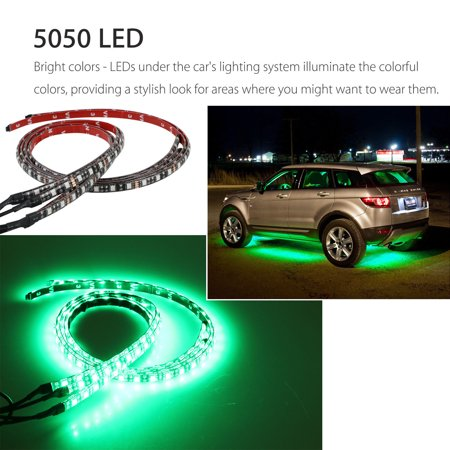 "YUNDAP 4Pcs 8 Colors Multicolor RGB IR Remote LED Strip Under Car Tube Underglow Music Sound Active Sensor Lights (36""x2, 24""x2) - image 2 of 9"