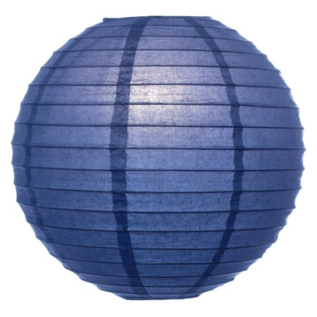 Premium Paper Lantern, Lamp Shade (8-Inch, Parallel Style Ribbed, Navy Blue) - Rice Paper Chinese/Japanese Hanging Decoration - For Home Decor, Parties, and Weddings