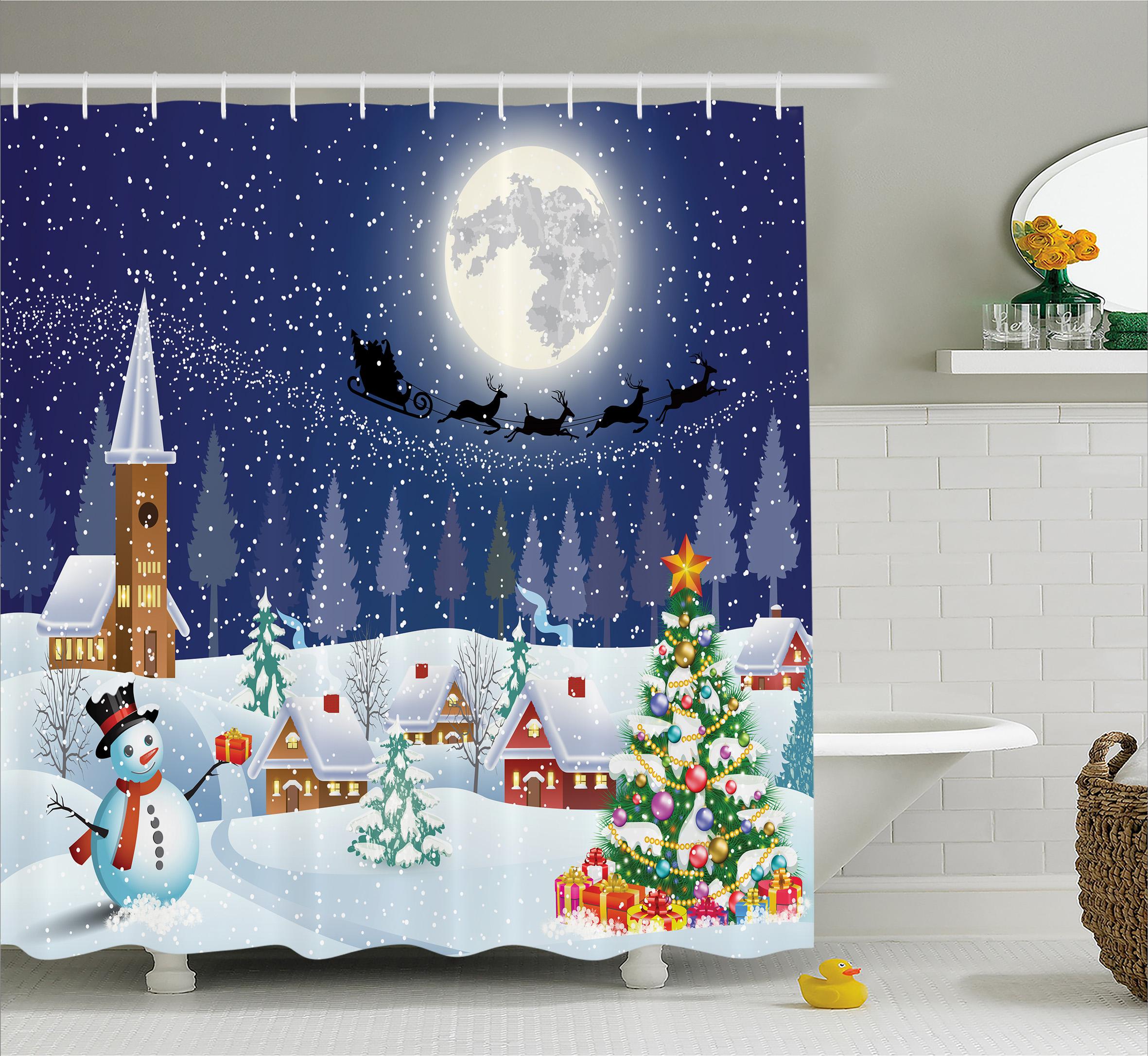 Christmas Shower Curtain Set Winter Landscape Snowman