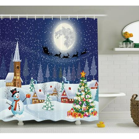 Christmas shower curtain set winter landscape snowman for Christmas bathroom decor