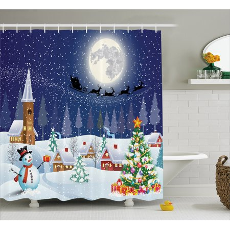 Christmas shower curtain set winter landscape snowman for Bathroom xmas decor