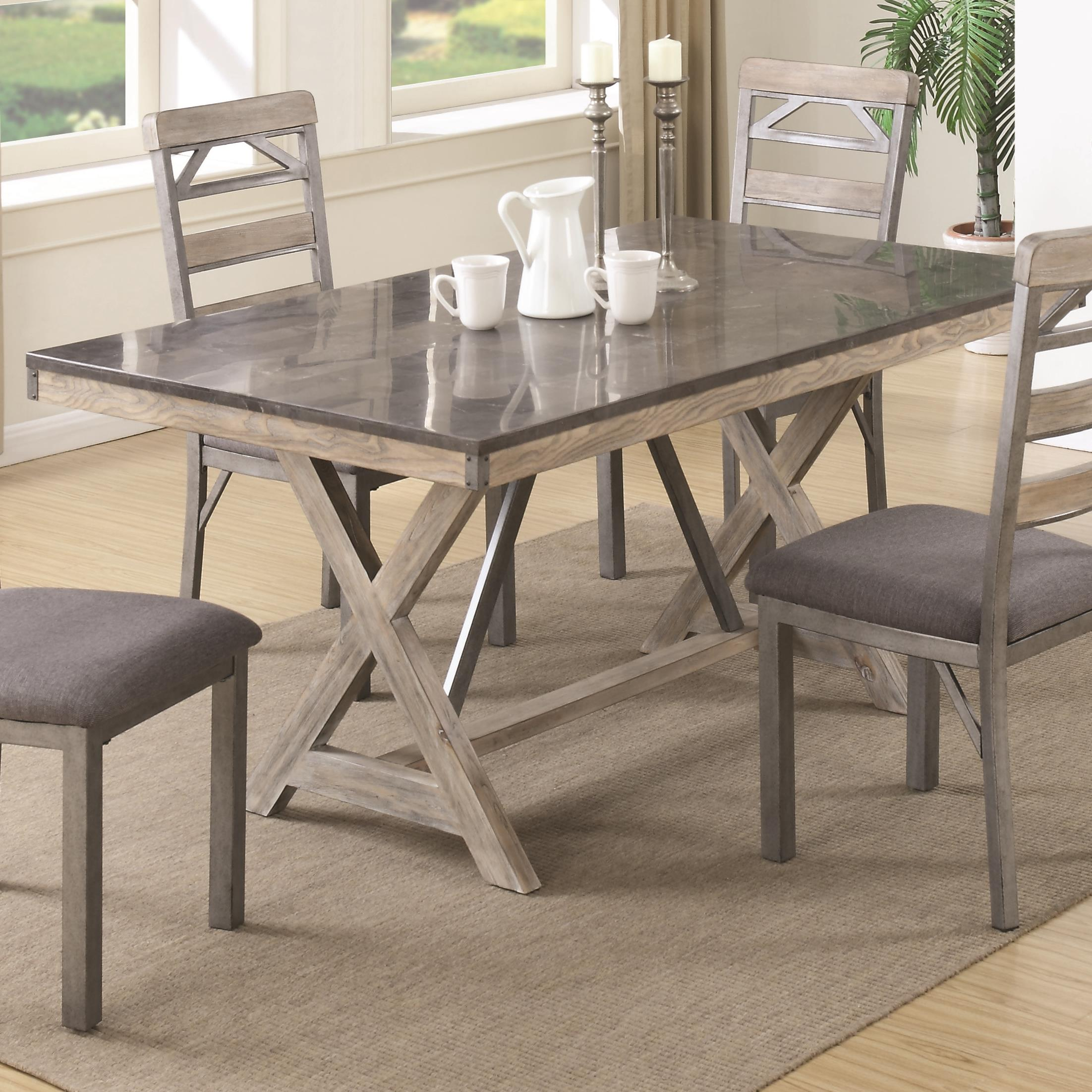 Coaster 106321 Antique Elm Dining Table With Bluestone Laminate Top