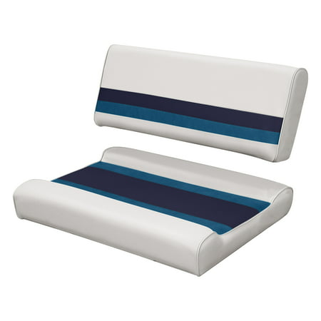 Surprising Wise 8Wd125Ff 1008 Deluxe Series Pontoon Flip Flop Bench Seat And Backrest Cushion Set White Navy Blue Ocoug Best Dining Table And Chair Ideas Images Ocougorg
