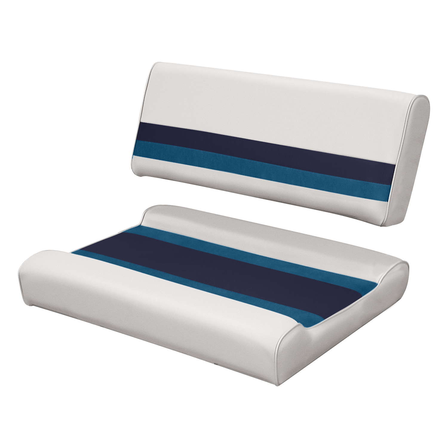 "Wise 8WD125FF-1008 Deluxe Series Pontoon 32"" Flip Flop Bench Seat and Backrest Cushion Set, White/Navy/Blue"