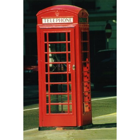 Framed Art for Your Wall English Red Phone Call Retro Phone Booth England 10x13 Frame