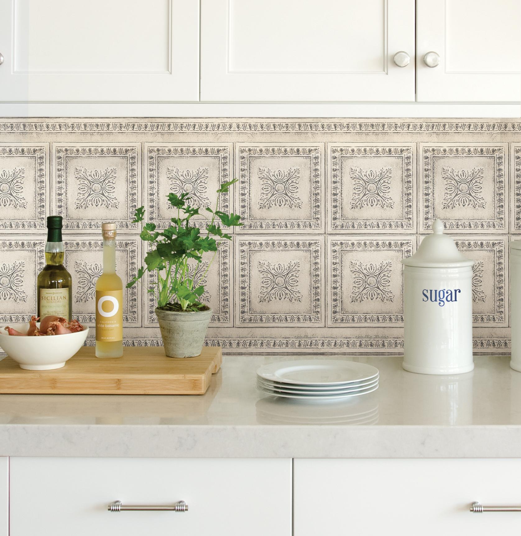 InHome Ornamental Tin Cream Peel & Stick Backsplash Tiles